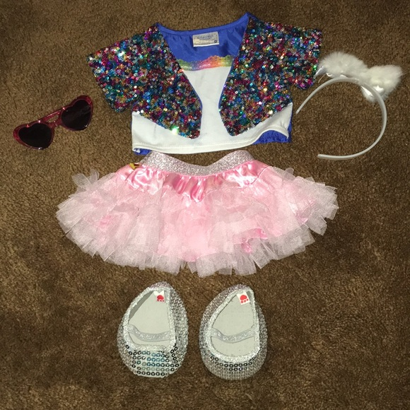 Build A Bear Sparkly Glittery White Tutu Skirt with Silver Sequin Trim NWT